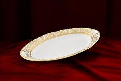 Блюдо Овальное 23 см 1 штука Соната Золотой Орнамент Чехия