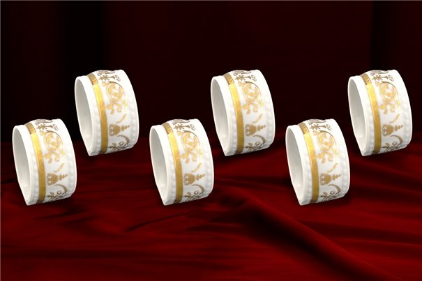 Набор Колец 5 см для Салфеток 6 штук Соната Золотой Орнамент Чехия