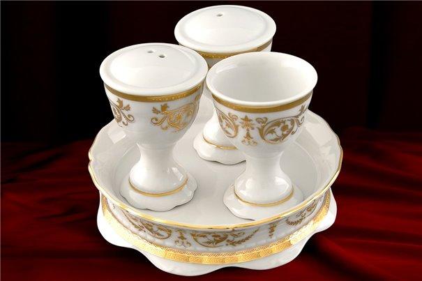 Набор для Приправ 4 предмета Соната Золотой Орнамент Чехия