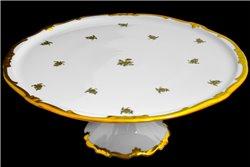 Тарелка для Торта 33 см на Ножке 1 штука Катарина Золотая Роза (1007) Германия