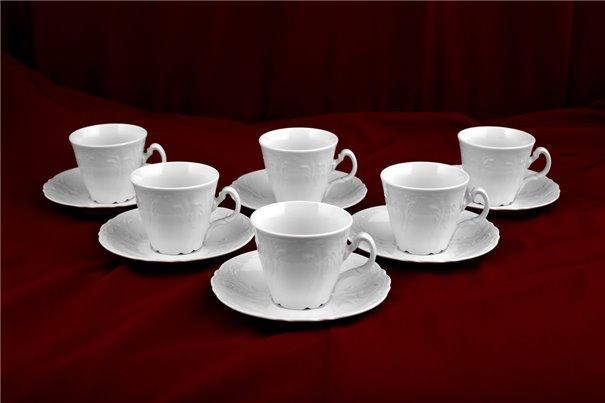Набор Чайных Чашек 200 мл на 6 персон 12 предметов Бернадотт Белая Посуда Чехия