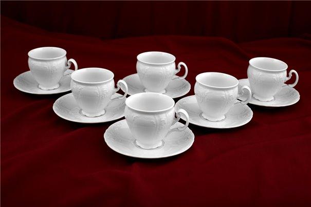 Набор Чайных Чашек 240 мл на 6 персон 12 предметов Бернадотт Белая Посуда Чехия