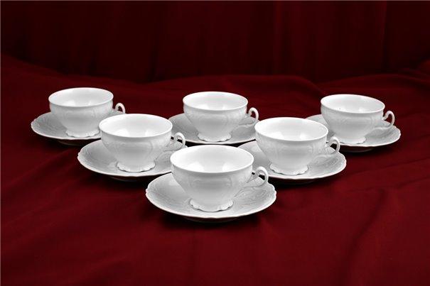 Набор Чайных Чашек 360 мл на 6 персон 12 предметов Бернадотт Белая Посуда Чехия