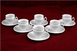 Набор Кофейных Чашек 90 мл на 6 персон 12 предметов Бернадотт Белая Посуда Чехия