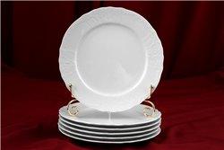 Набор Мелких Тарелок 21 см 6 штук Бернадотт Белая Посуда Чехия