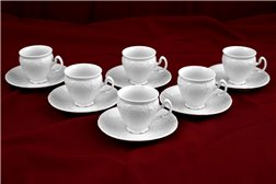 Набор Кофейных Чашек 170 мл 12 предметов Бернадотт Белая Посуда Чехия
