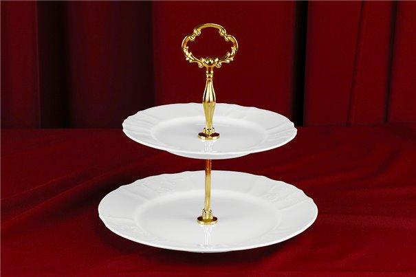 Этажерка Двух Ярусная 1 штука Бернадотт Белая Посуда Чехия