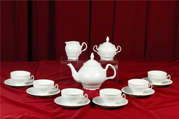 Чайный Сервиз на 6 персон 17 предметов Бернадотт Белая Посуда Чехия