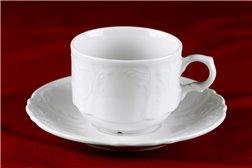 Набор Чайных Чашек 250 мл на 6 персон 12 предметов Бернадотт Белая Посуда Чехия