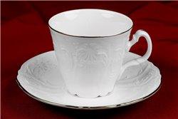 Набор Чайных Чашек 200 мл на 6 персон 12 предметов Бернадотт Платина Чехия