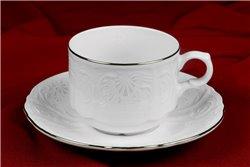 Набор Чайных Чашек 250 мл на 6 персон 12 предметов Бернадотт Платина Чехия