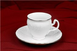 Набор Кофейных Чашек 90 мл на 6 персон 12 предметов Бернадотт Платина Чехия