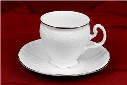 Набор Кофейных Чашек 170 мл на 6 персон 12 предметов Бернадотт Платина Чехия