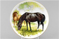 Тарелка Настенная 21 см Лошадь с Жеребенком 1 штука Чехия