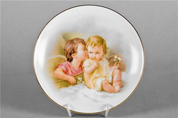 Тарелка Настенная 21 см Ребенок и Ангел 1 штука Чехия