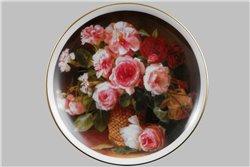 Тарелка Настенная 21 см Корзина с Розами 1 штука Чехия