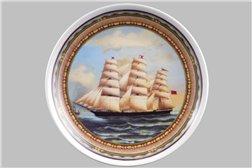 Тарелка Настенная 21 см Трехпалубный Парусник 1 штука Чехия