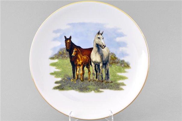 Тарелка Настенная 24 см Три Лошади 1 штука Чехия